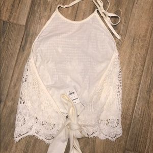 Open back tie crop top NWT sz M express